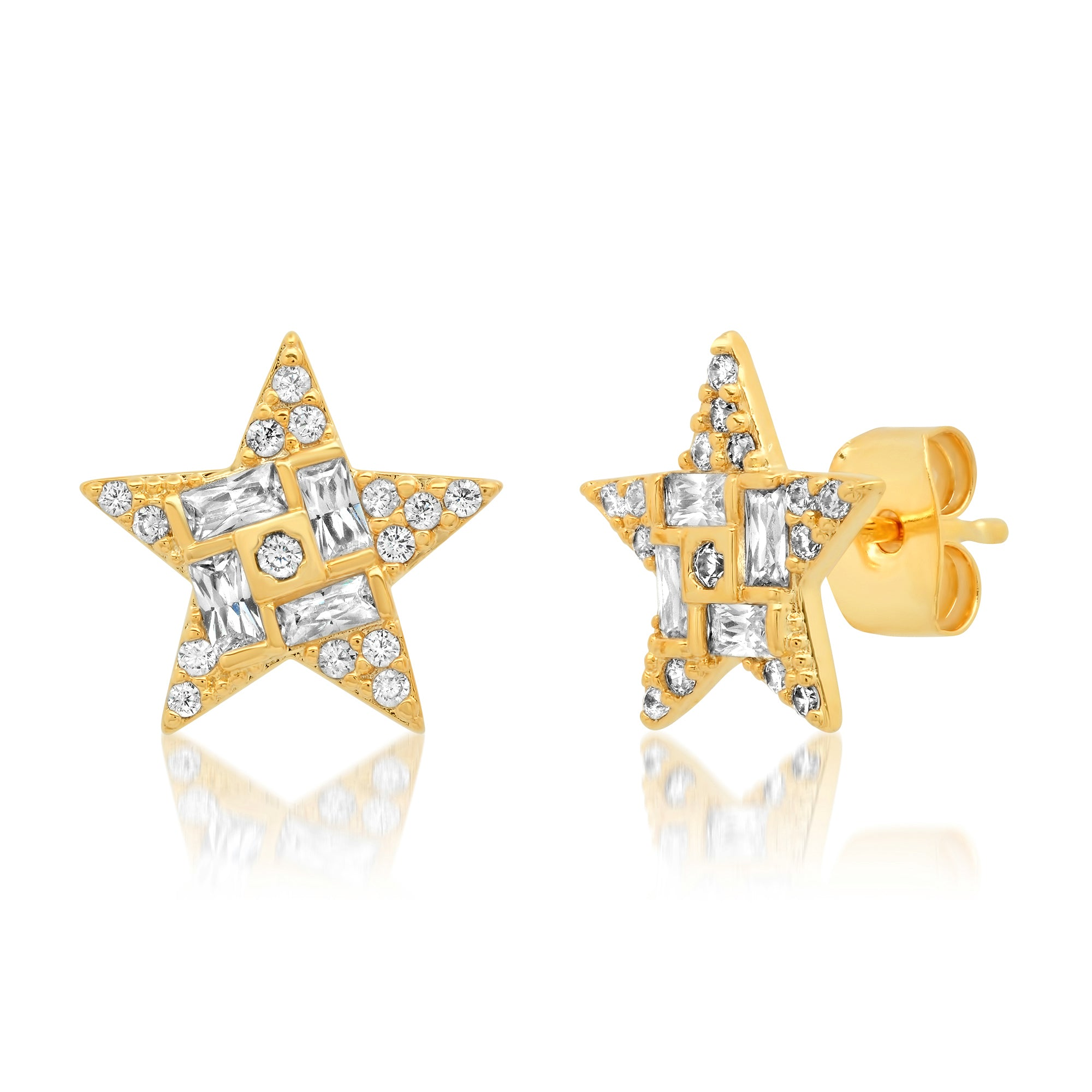 Gold Pave Star Studs