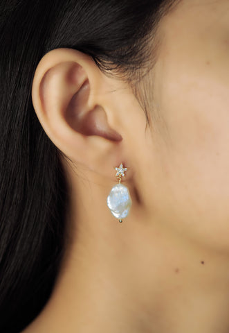 Pave CZ Star and Baroque Pearl Earrings
