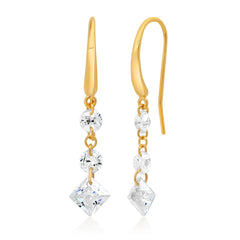 Three Stone Floating CZ Earring