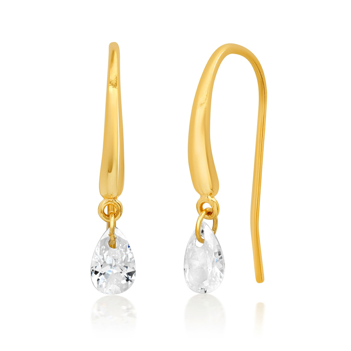Teardrop Floating CZ French Wire Earring