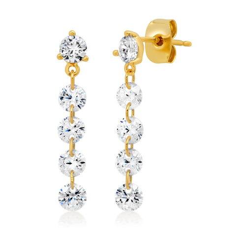 Linear Five Stone Floating CZ Earrings