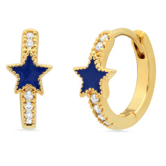 Pave CZ Gold Huggie with Enamel Star