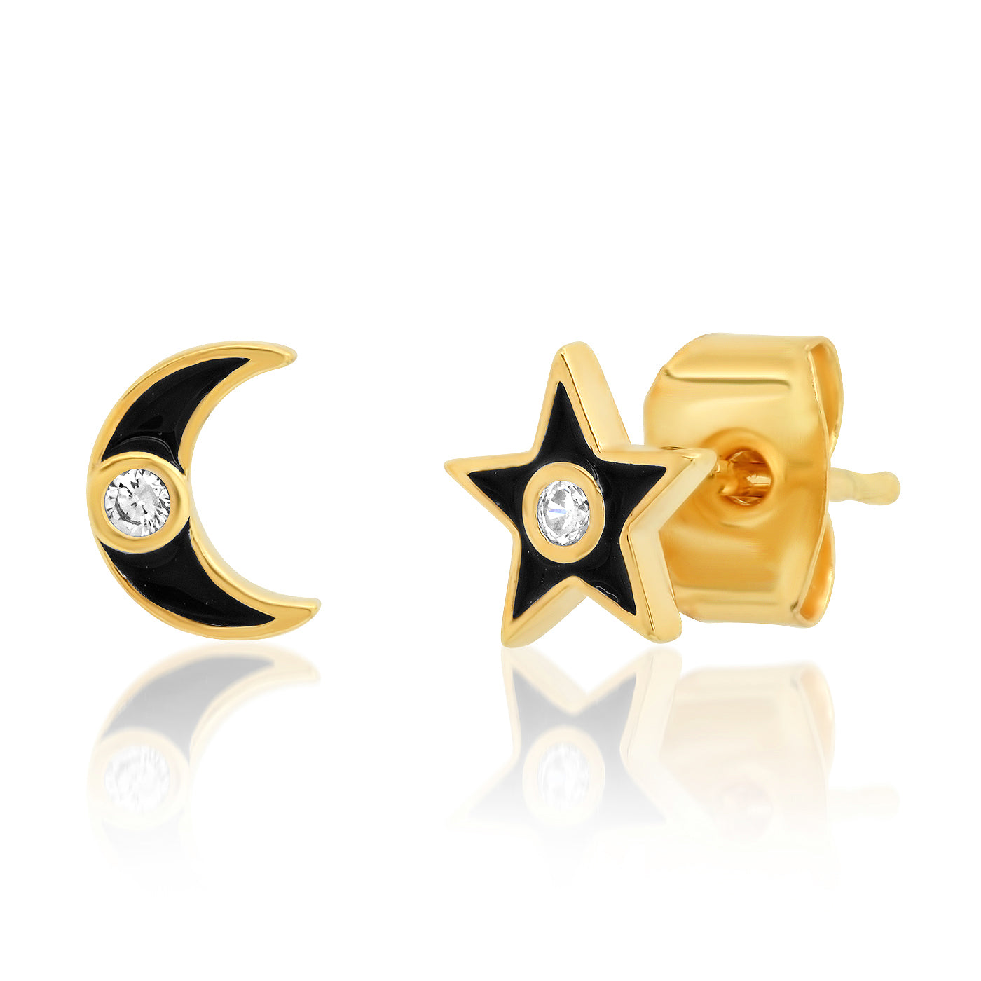 Enamel Star and Moon Studs