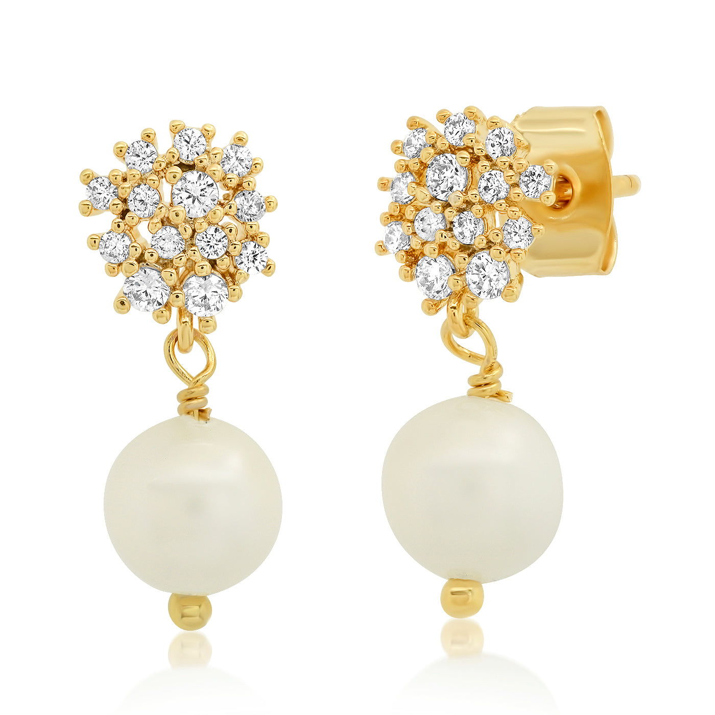 Disc Studs with Pearl Dangles