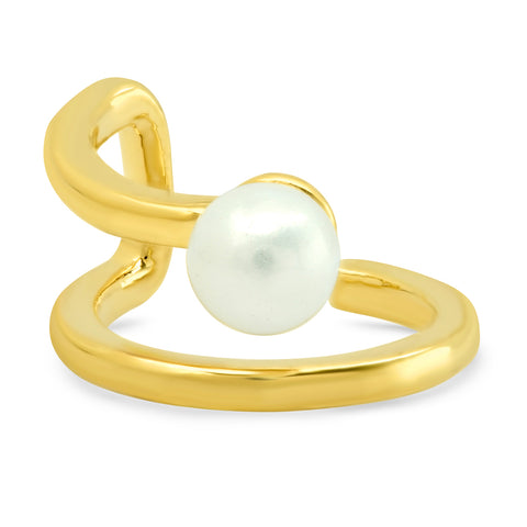 Double Row Gold Ear Cuff with Solitaire Pearl Accent