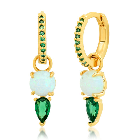 Opal & Emerald Dangle Huggies