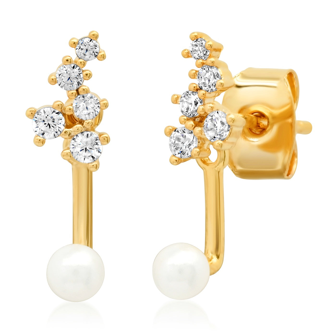 CZ Cluster and Freshwater Pearl Ear Jacket