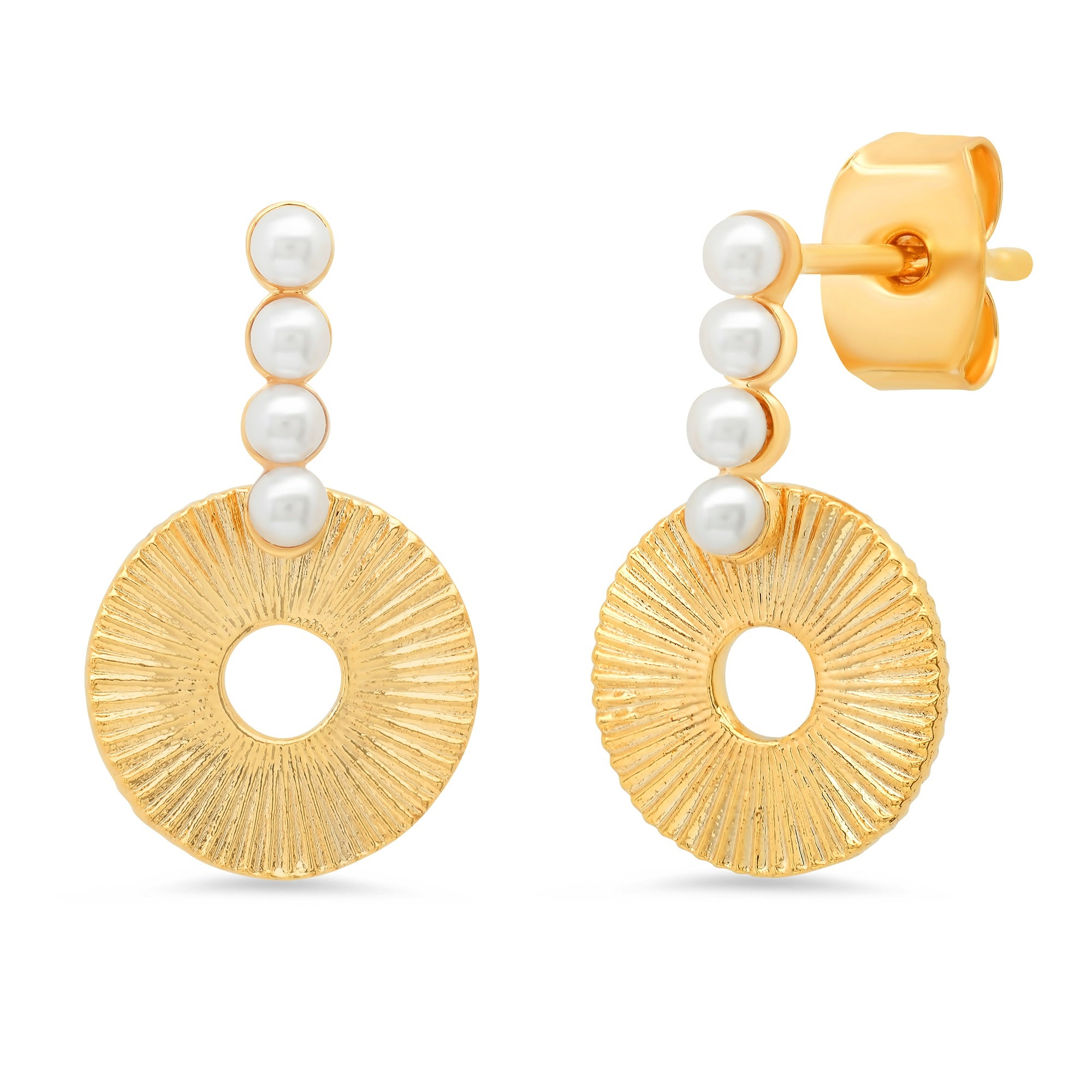 Freshwater Pearl and Gold Deco Disc Earrings
