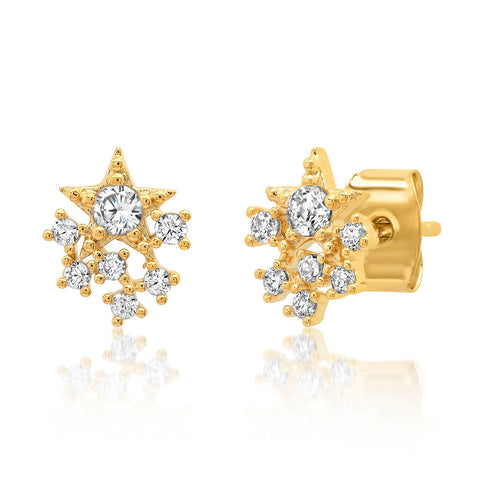 Star and Dot CZ Cluster Studs
