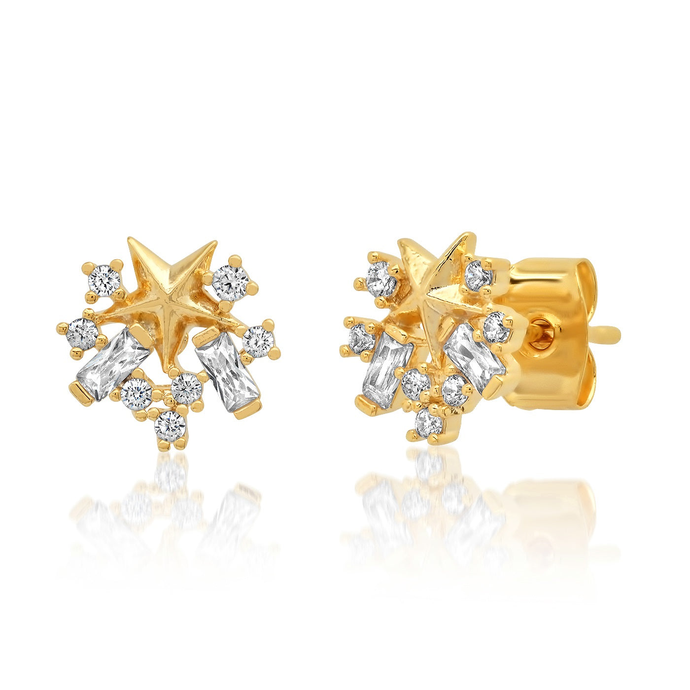 Star and Baquette CZ Cluster Stud
