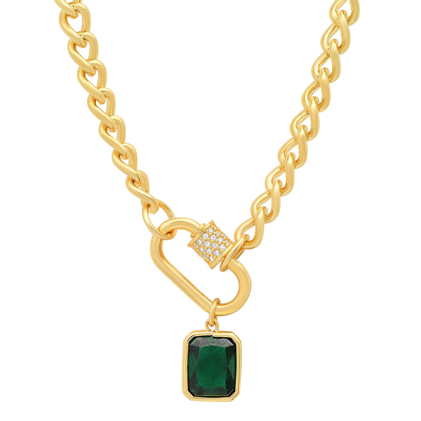 Gold Link Necklace with Pave CZ Encrusted Lock and Emerald Charm