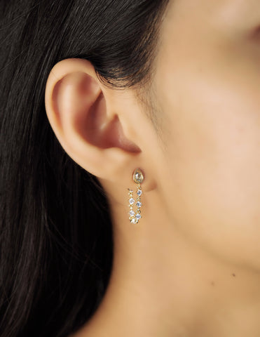 Teardrop Stud with CZ Studded Chain Detail