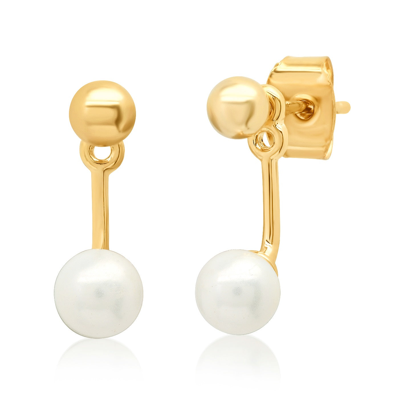 Gold Ball and Freshwater Pearl Ear Jacket