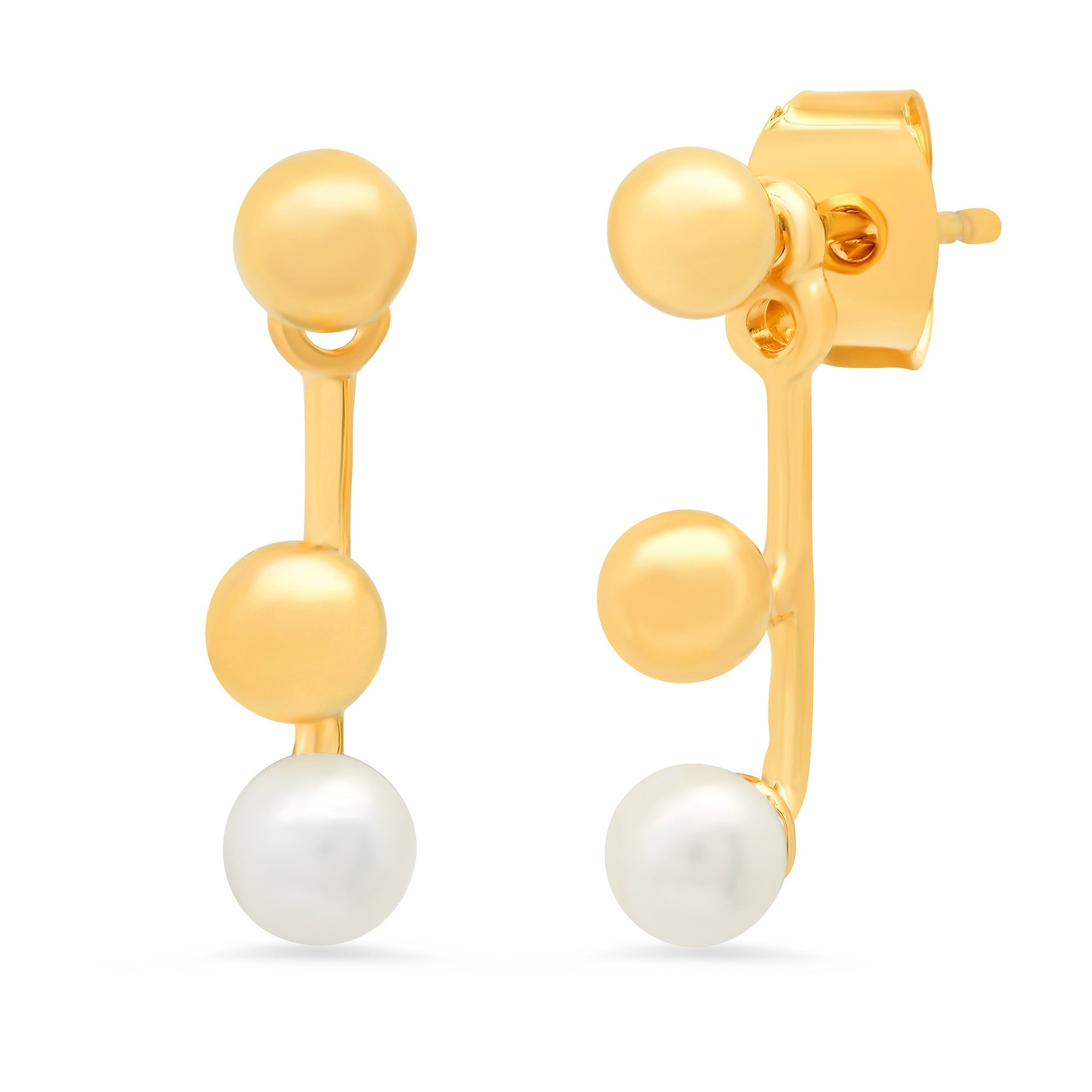 Double Gold Ball and Freshwater Pearl Ear Jacket