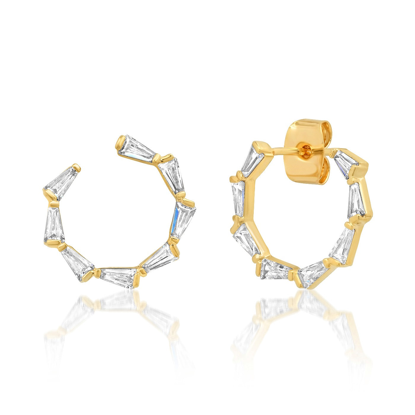 Baguette CZ Front Facing Hoops