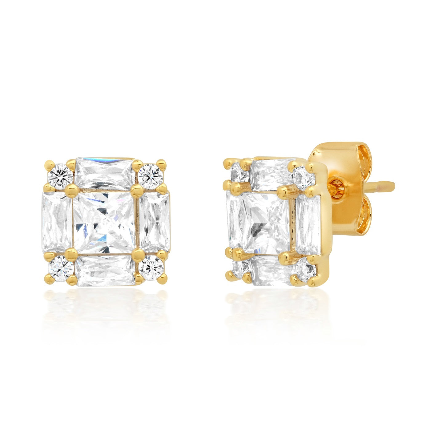 Princess Cut CZ Studs With Emerald and Round CZ Accents
