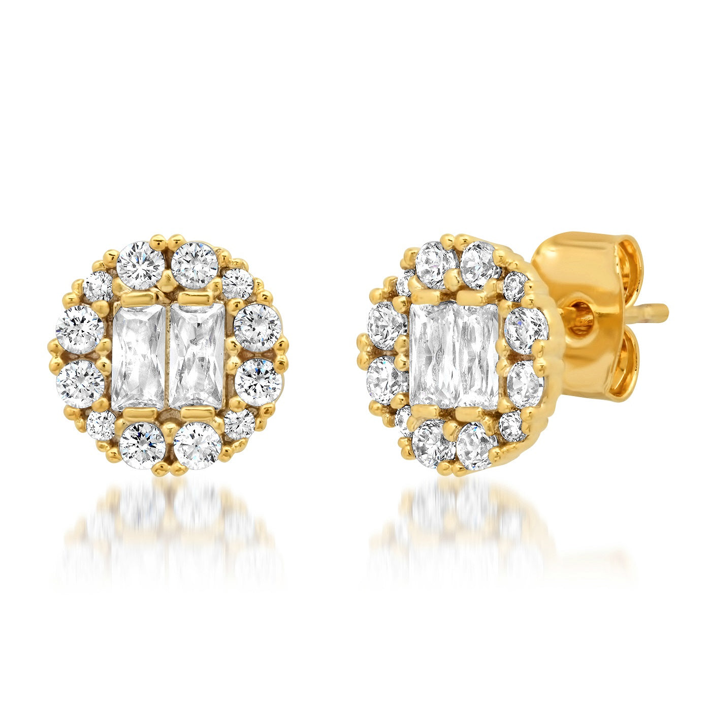 Circular CZ Stud with Round and Baguette Stones