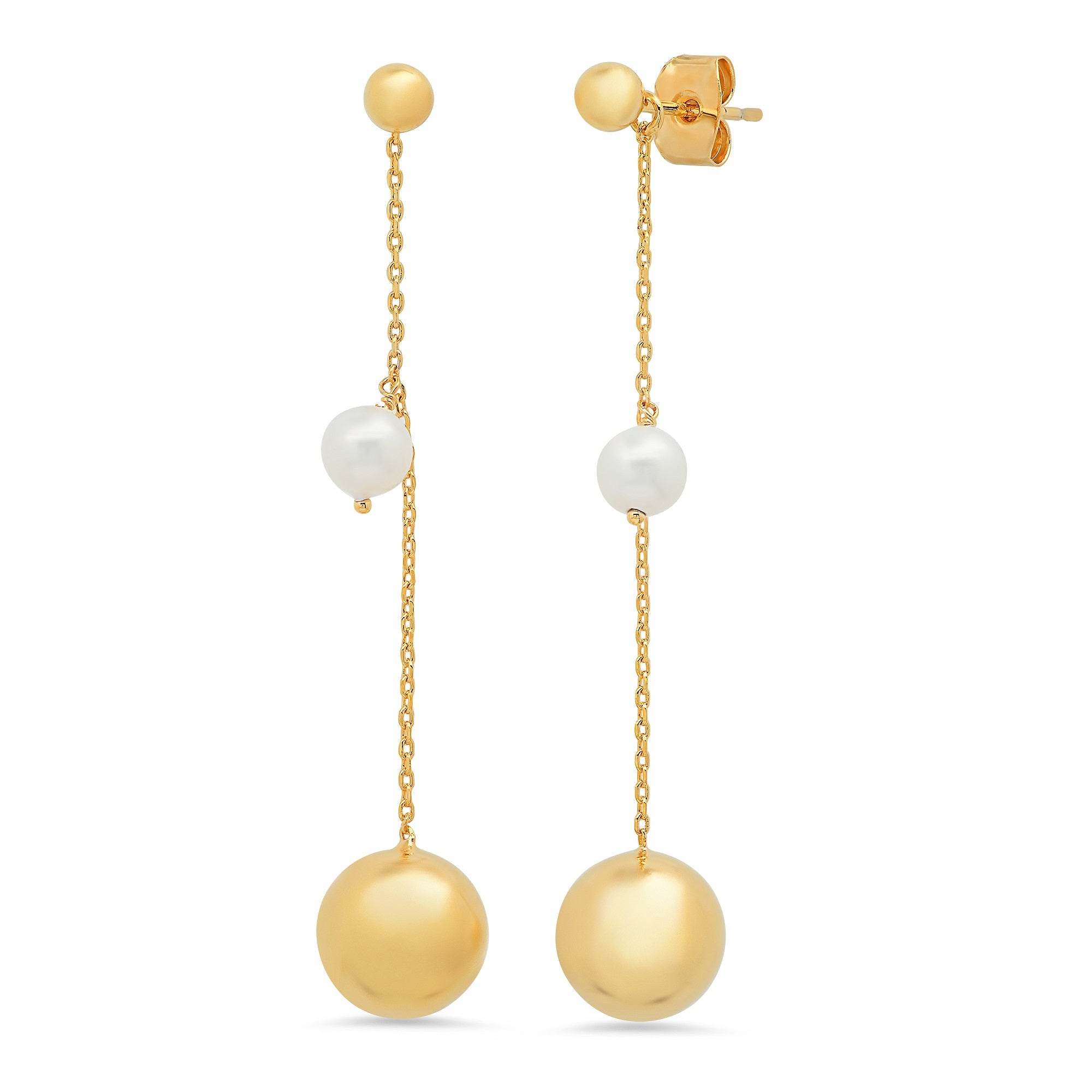 Gold Ball Stud with Removable Freshwater Pearl and Gold Chain Drop