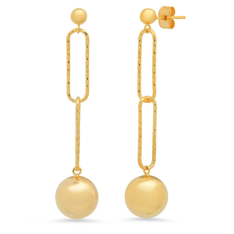 Chain Link Linear Earring with Ball Detail