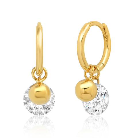 Huggie with Gold Ball and Solitaire Floating CZ