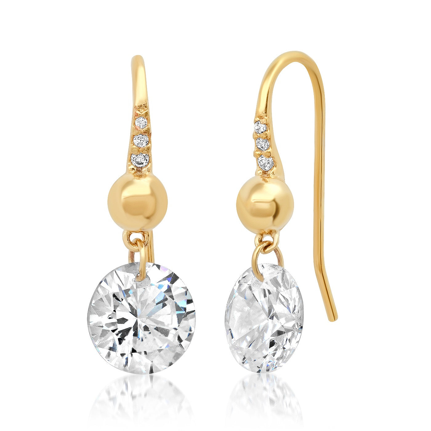 Pave French Wire Earring with Solitaire Floating CZ