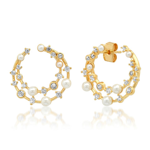 Pearl & CZ Double Front Facing Hoop