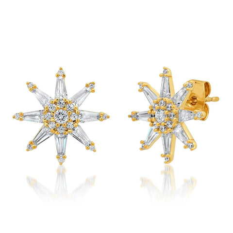 Twinkling Star Baquette CZ Studs