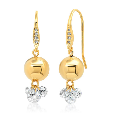 Gold Ball and Floating CZ Cluster Earring