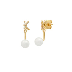 Pearl and CZ Monogram Ear Jacket