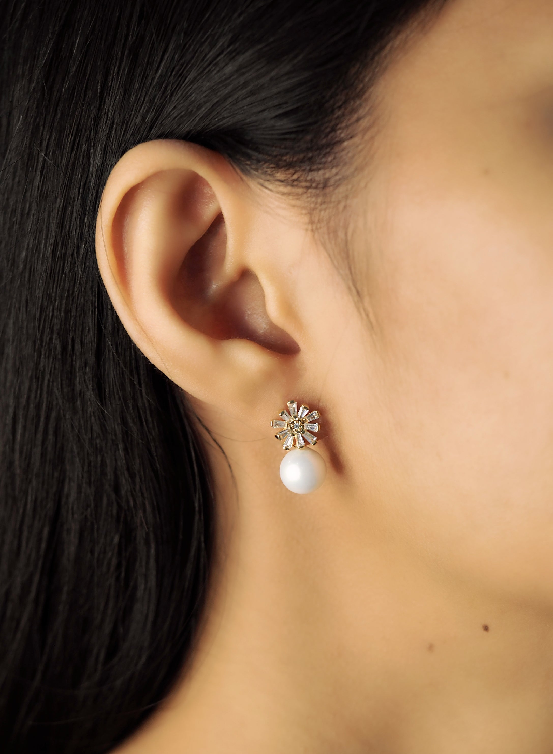 Baguette CZ Flower Studs with Freshwater Pearl