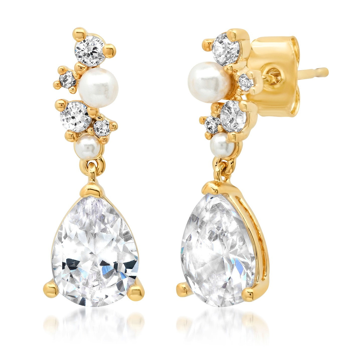 CZ and Pearl Cluster with Tear Drop Dangle