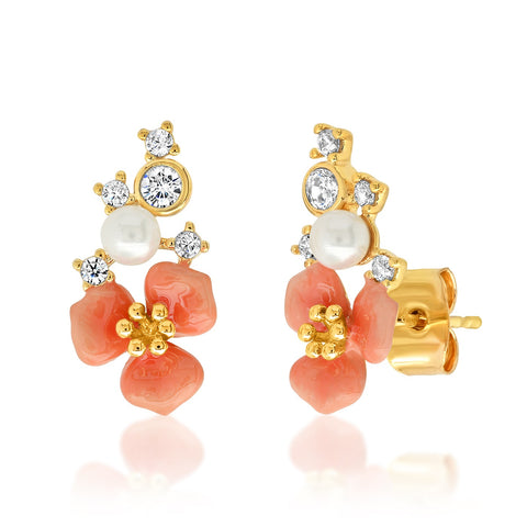 Coral Flower Cluster Studs