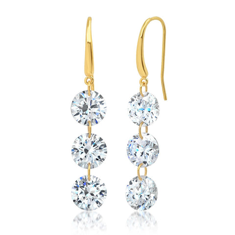 Floating CZ French Wire Earrings