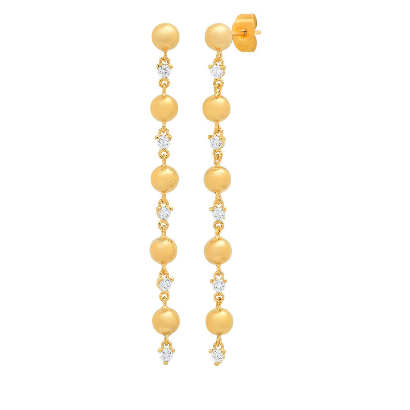 Linear Alternating Gold Ball and CZ Drop Earring