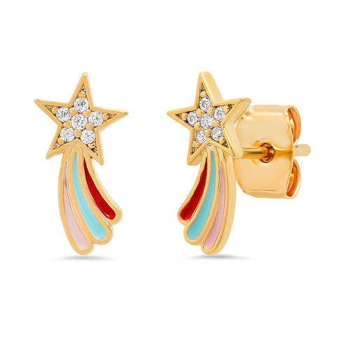 Pave CZ and Enamel Rainbow Shooting Star Studs