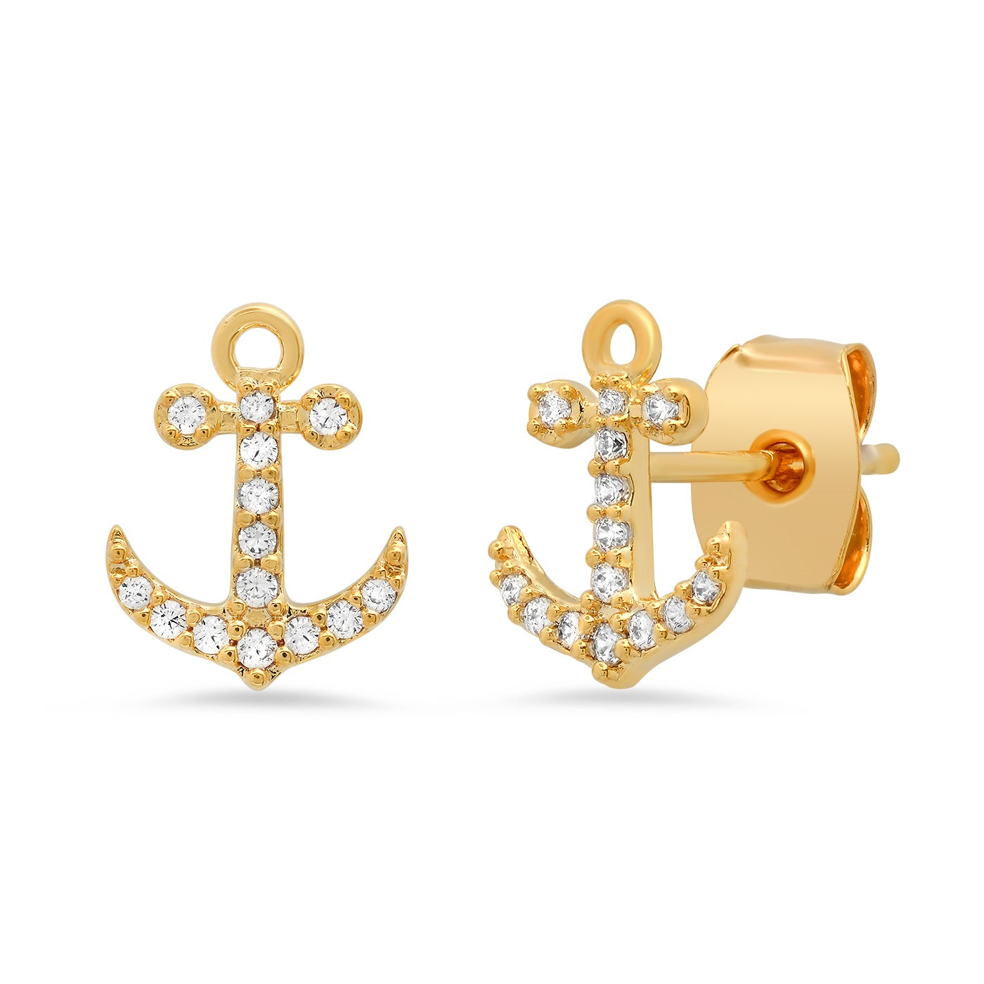 Pave CZ Anchor Studs
