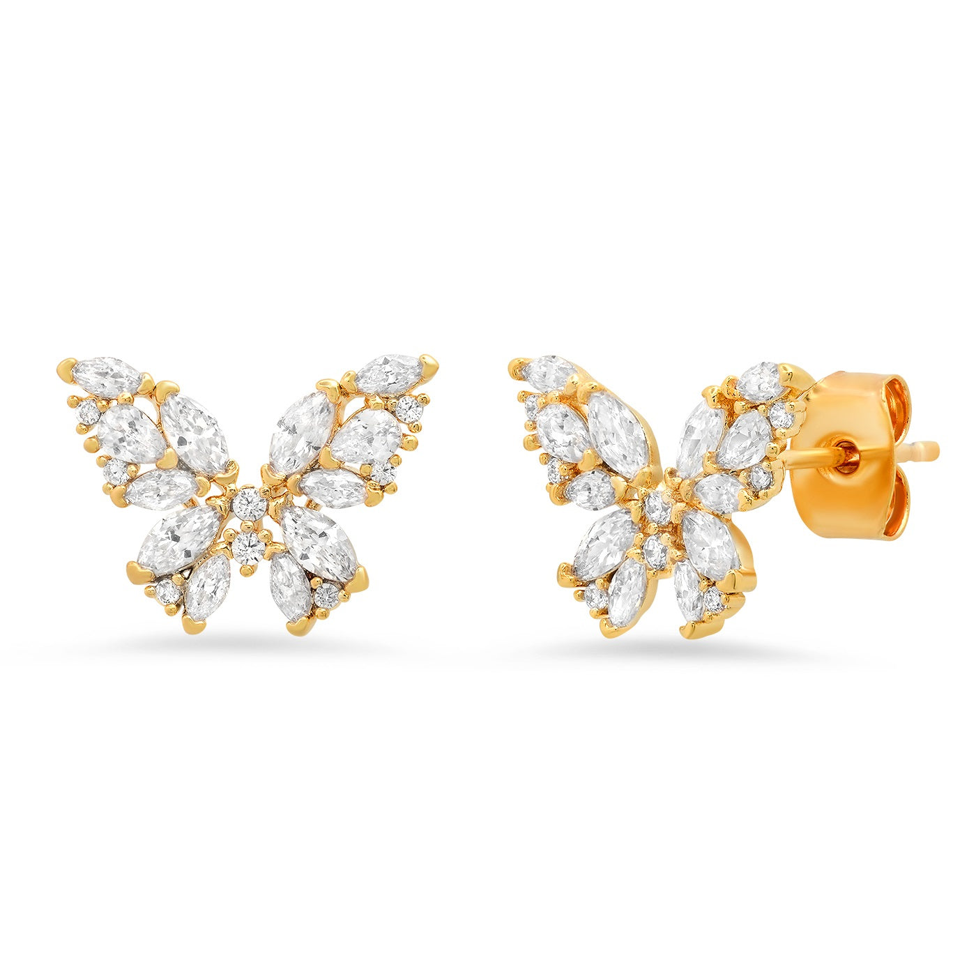 CZ Encrusted Butterfly Studs