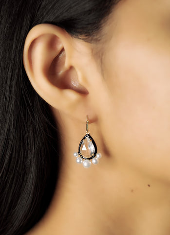 Pear Shaped CZ Dangle with Enamel Bezel and CZ Accents