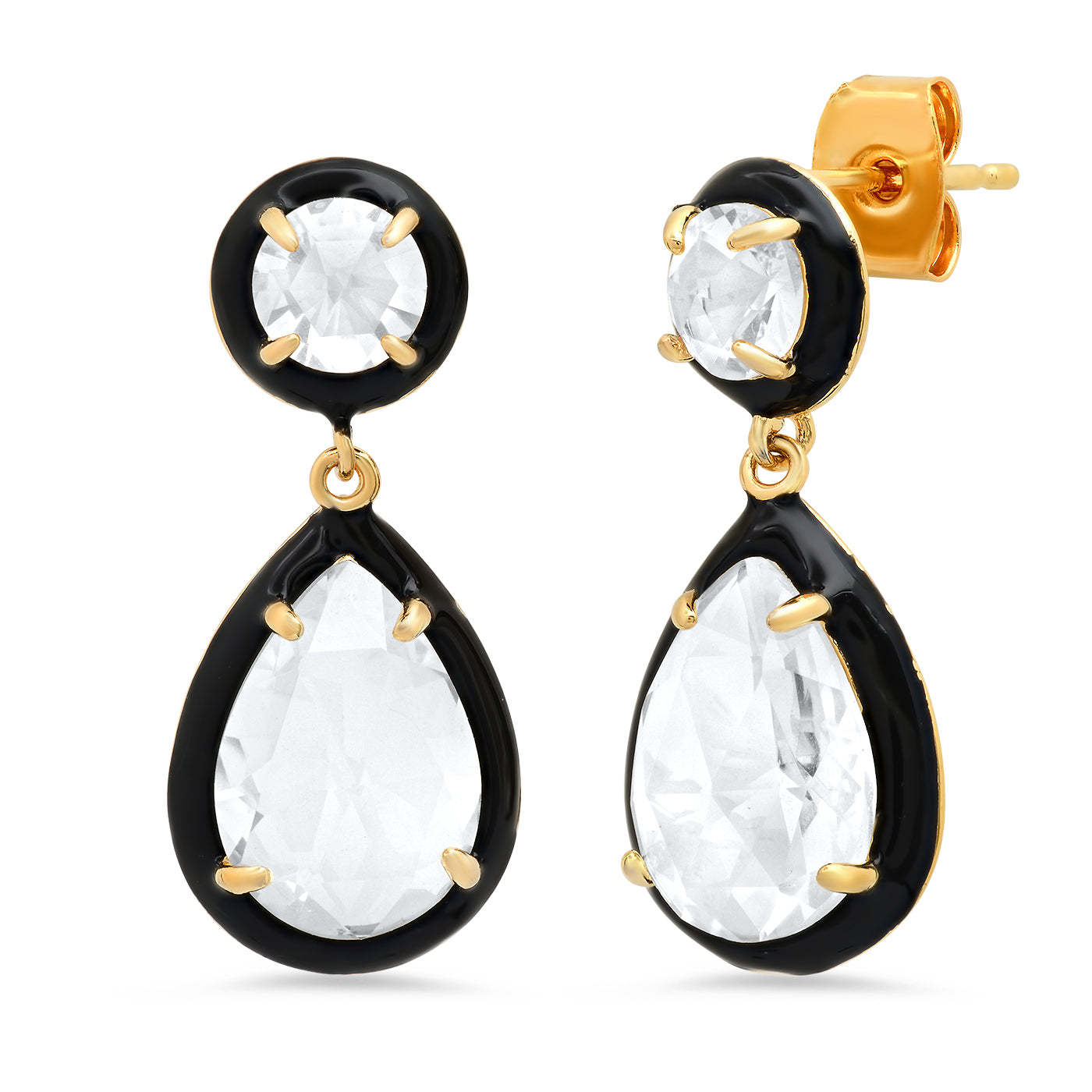 Enamel Bezled CZ Drop Earrings