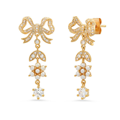 Bow Dangle Earring with Pearl and CZ Accents