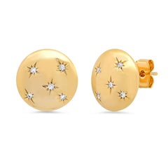 Gold Button Earring Studs with CZ Star Accents