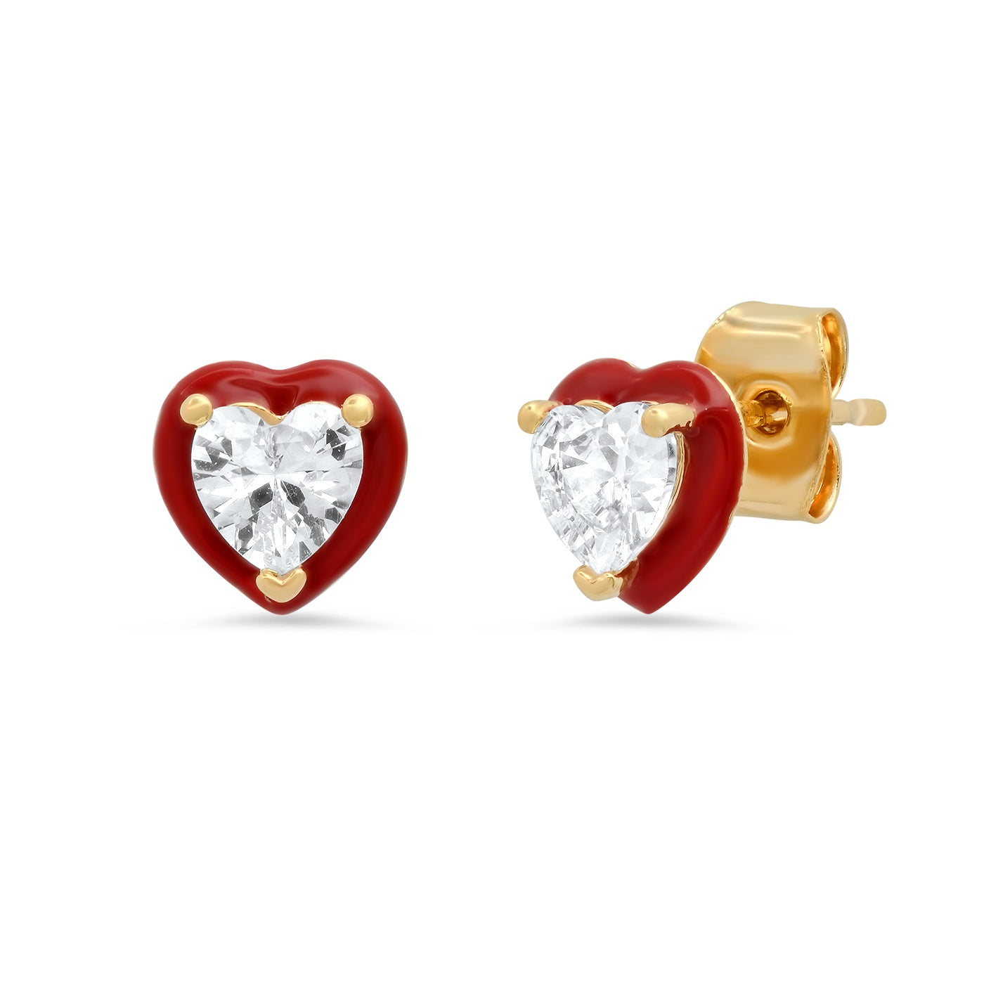 Heart Shaped CZ Stud with Enamel Bezel