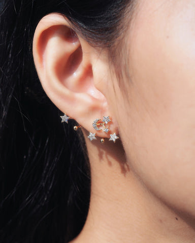 Stars and Crescent Moon Ear Jacket