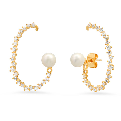 CZ Ear Climber with Pearl Accent