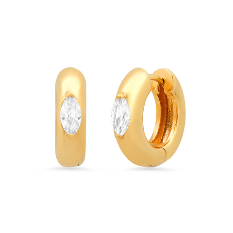 Huggies with Marquise CZ Accent