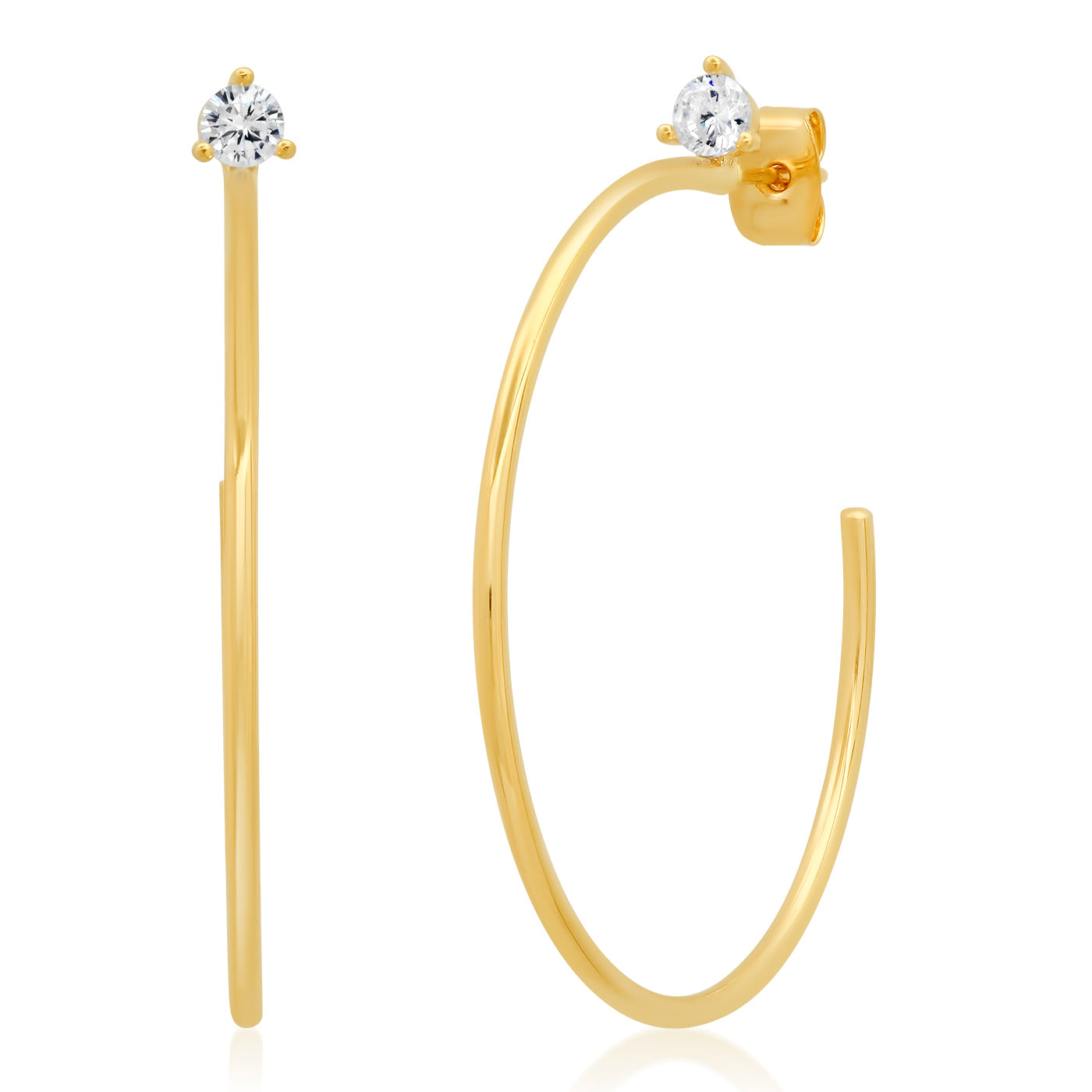 Medium Thin Gold Hoops with CZ Accents