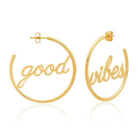 Good Vibes Gold Hoops