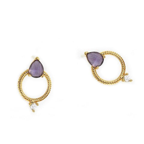 Open Circle Stud w Purple Glass & CZ Accent Stones
