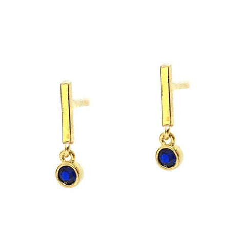 Mini Stick Earring with Cobalt Stone Accent