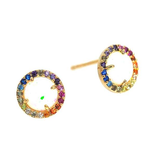 Tai Jewelry Opalescent Stud Earrings with Rainbow Halo 3QUsR4r8T